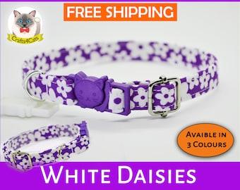 Breakaway cat collar 'White Daisies',cat collar,kitten collar,cute collar,purple cat collar,pink cat collar,boy,girl, Crafts4cats