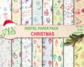 Digital Christmas Seamless Paper Pack, 16 Scrapbooking papers, hand draw, doodle Digital Collage, Instant Download, set 344