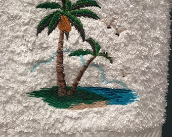 Hand Towel - Embroidered Palm Tree Dreams