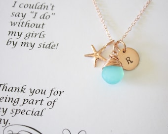 2 Bridesmaid Gift Personalized Rose Gold Starfish, Bridesmaid Necklace, Beach Wedding, Pink Gold, Gemstone, Initial jewelry, Thank you Card