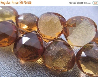 ON SALE 20% OFF Golden Brown Beer Quartz Faceted Briolette Beads 4pcs