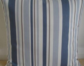 """Funda de almohada de 24 x 24 azul rayas marrón y crema 24"""" amortiguador caso simulado Slip funda de almohada rayas rayas Beige Taupe francés en 24 Plaza de China"""
