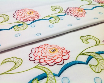 Zinnia flowers hand embroidered border pillowcase pair, standard size, cotton and polyester blend, white cases