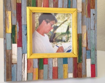"""Rustic Picture Frame """"Hello Yellow"""" from RusticAndRawFrames // Picture Frames, Rustic Picture Frames, Rustic Frames, Picture Frame, Frames"""