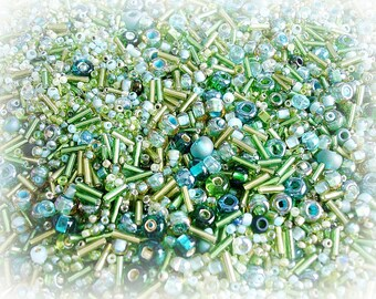 Seed Bead Mix - Meadow Emerald & Mint Green