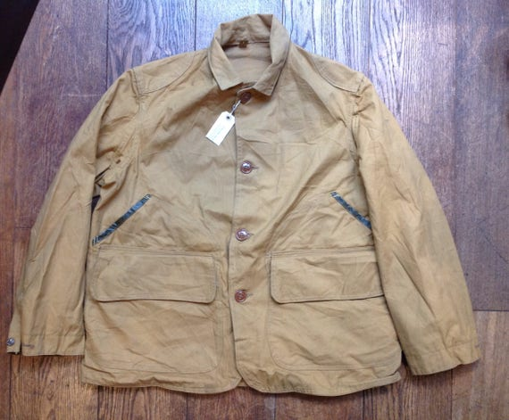 "Vintage 1950s 50s deadstock Hettrick American Field tan brown duck cotton canvas hunting jacket 50"" chest showerproof"