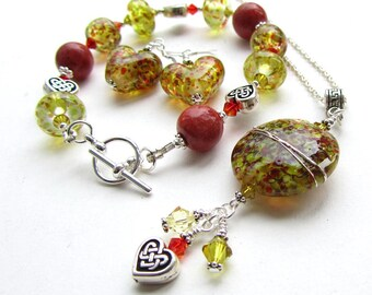 Jewellery Set, Red and Green, Lampwork Glass Beads, Bracelet, Pendant Necklace and Earrings