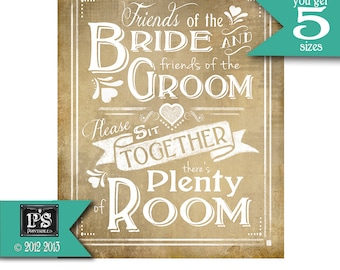 Wedding Poster Friends of the Bride Printable Seating Vintage sign - instant download digital file, Vintage Heart Collection - Signage