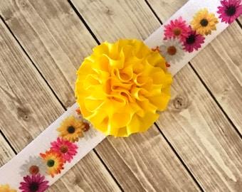 Baby Headband, 15 Inch Headband, Yellow Flower Headband, Daisy Headband, Baby Gift, Baby Shower Gift, Gerber Daisy, 1 Inch Wide Headband