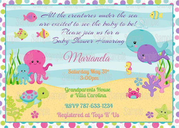 Printable Under The Sea Girl Baby Shower Invitation Plus FREE