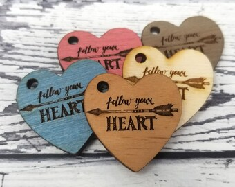Engraved Wood Boho Arrow Follow Your Heart  Earrings Necklace Drop Dangle Findings Embellishments Drop Charm Laser
