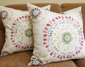 Zipper closer ONE pillow cover BOTH SIDE Robert Allen Color Wheel Coral Ivory pillow cover Throw Pillow 12 x 18 16 x 16 18 x 18 20 x 20
