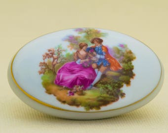 Vintage Oval Limoges Trinket Box with Courting Couple  B 42 Made in France