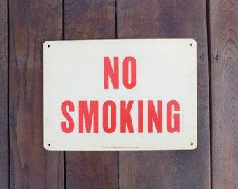 Vintage W.H Brady Co. Fiber-Shield NO SMOKING Sign, Mancave, Bar Decor, Industrial Sign