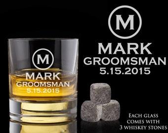 Groomsmen Gift, 5 Personalized Whiskey Glasses, Custom Whiskey Rocks, Whiskey Stones, Wedding Gift, Engagement Gift, Engraved Whiskey Glass