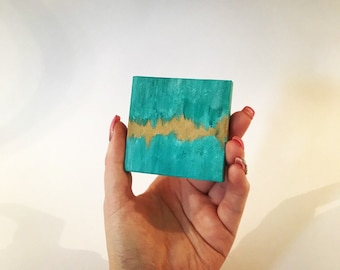 Miniature Turquoise and Gold Painting