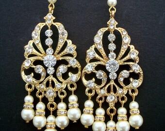 Bridal chandelier earrings, Swarovski pearls earrings, wedding rhinestone earrings, statement bridal earrings, long bridal earrings, LYNETTE