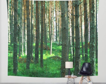 wall tapestry, large size wall art, wall decor, photo tapestry, woodland forest nature wicca wiccan green