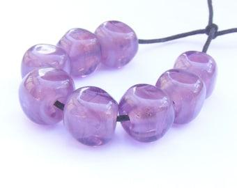 Pearly mid amethyst handmade lampwork bead set of 8 curvy cube shaped lampwork glass beads - UK seller