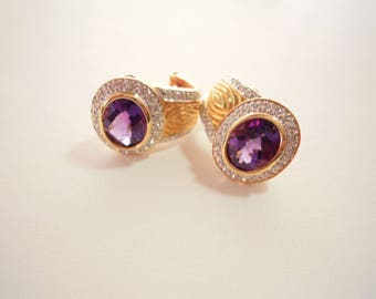 Vintage Inspired Deep Purple Amethyst Diamond Earrings