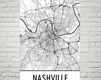 Nashville Art, Nashville Print, Nashville Map, Nashville Wall Art, Nashville TN, Map of Nashville, Gift, Birthday, Decor, Modern, Art