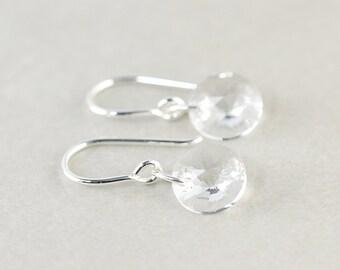 Crystal Disc Earrings, Crystal Earrings, Swarovski Earrings, Clear, Bridesmaid