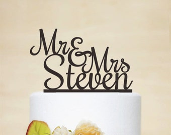 Wedding Cake Topper,Mr & Mrs Cake Topper With Last Name,Wedding Decoration,Bride And Groom,Rustic Cake Topper - C052