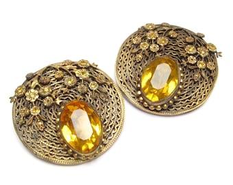 VINTAGE Shoe CLIPS Flower Shoe Clips Pair Dress Clips Czech Jewelry Amber Glass Brass Topaz Filigree RHINESTONE Jeweled Clips Floral Clips