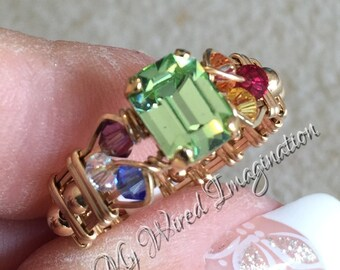 Crystal Chakra Ring, Vintage Swarovski Chrysolite, 7 Chakra Healing Colors, Handmade Wire Wrapped Ring, Unique Engagement Ring Handmade Ring