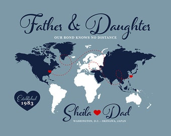 Gifts for Dad, Father and Daughter, Kids, Son, Long Distance Map, Living Overseas, Navy Deployment, Military Family, Okinawa, DC | WF459