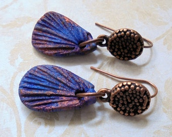 Metallic Royal Blue and Copper Ethnic Boho Earrings (3232)