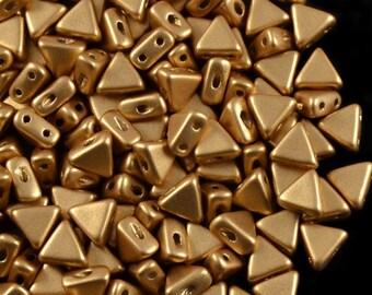 50pcs Kheops Par Puca Beads  - czech pressed 2-hole glass beads, Triangle, 6 mm, LIGHT GOLD MAT (KP027)