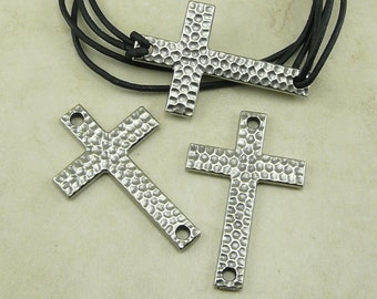 2 TierraCast Hammertone Cross Charm Links - Antique Pewter Plated Lead Free Pewter - I ship Internationally 3150
