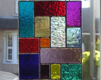 Abstract / Geometric Panel, Stained Glass Suncatcher, Handmade in England