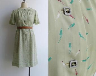 Vintage 80's Brushstroke Confetti Abstract Print Green Dress M
