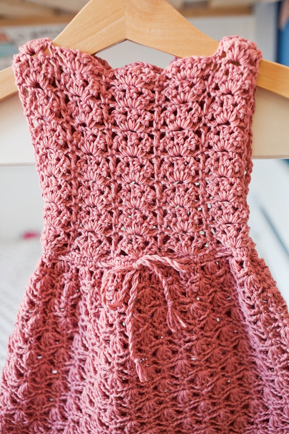Crochet Pattern Scalloped Neckline Lace Dress Baby Toddler