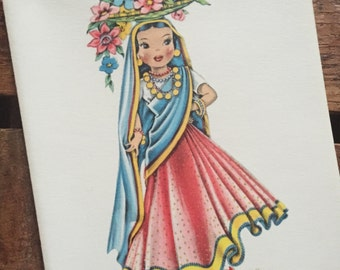 Vintage Dolls of Many Lands Card - Doll of India - Blank Inside - Unused