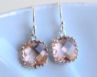 Dainty Small Champagne Blush Earrings Silver - Peach Bridesmaid Earrings - Wedding Earrings - Champagne Wedding Jewelry - Bridal Earrings