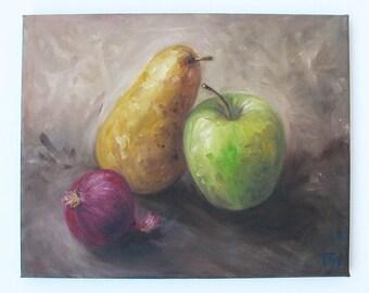 Nature Morte - Original Oil Color Painting On Canvas, Size 30 cm x 24 cm