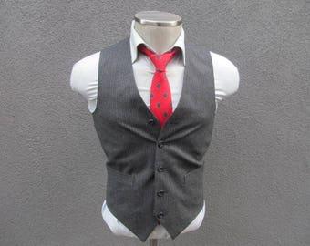 1980s Suit Vest / Gray Striped Vest / Wool Waistcoat / Mens Vest / Mens Waistcoat 36 Small / 80s Wool Vest / Wedding Vest / Groom Vest / Vtg