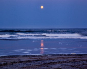 Glowing Moon over the Atlantic Ocean at Wildwood, NJ Beach | Jersey Shore Canvas Art 20x27