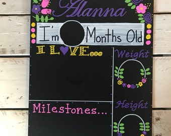 Personalized Monthly Milestone Floral Chalkboard