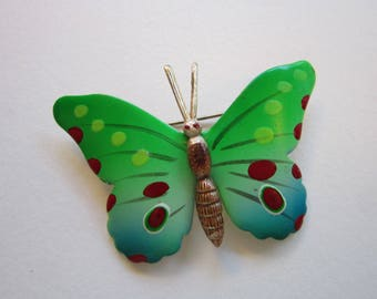 vintage butterfly brooch - painted metal butterfly pin