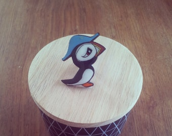Captain Puffin wooden brooch