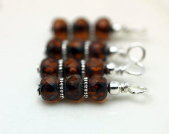 Brown Czech Picasso Firepolished Bead Earring Dangle Charm Drop Set