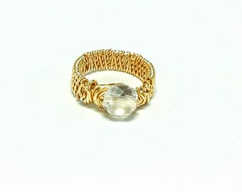 Golden Crystal Wire-Wrapped Ring, Wire-Wrapped Ring, Crystal Ring, Gold Ring, Wire Ring