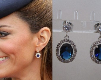 Kate Middleton Duchess Cambridge Inspired Replikate Sapphire Blue Oval Crystal Drop Silver Earrings