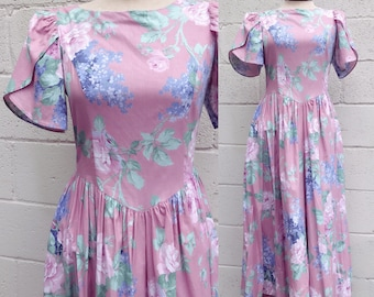 Vintage Floral Dress. Garden Party Dress. Easter Dress. Misty Lane