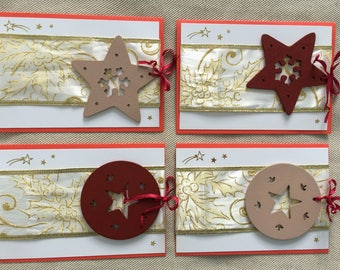 Set of 4 Christmas cards - gold/red/beige