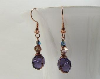 Purple & Teal Crystal Copper Wirewrap Earrings, Handmade Crystal and Copper Earrings, Everyday Purple Teal Wirewrapped Copper Earrings